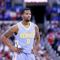 15 April 2014: Denver Nuggets guard Aaron Brooks (0) rests during the Los Angeles Clippers 117-105 victory over the Denver Nuggets at the Staples Center, Los Angeles, California, USA.