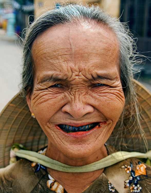 Old Vietnamese woman with betel teeth
