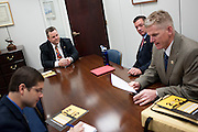 Montana Senator Jon Tester (D) meets with firefighters from his home state.