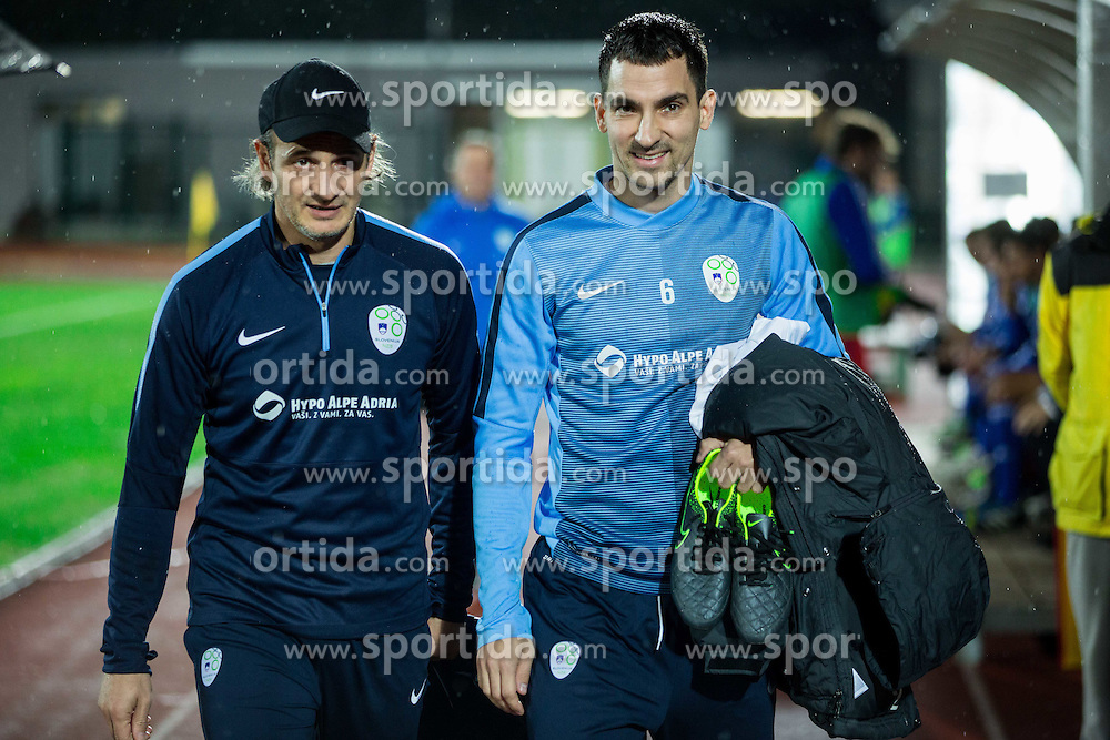 Nihad Pejkovic and Branko Ilic of Slovenia prior to the football match between National teams of San Marino and Slovenia in Group E of EURO 2016 Qualifications, on October 12, 2015 in Stadio Olimpico Serravalle, Republic of San Marino. Photo by Vid Ponikvar / Sportida