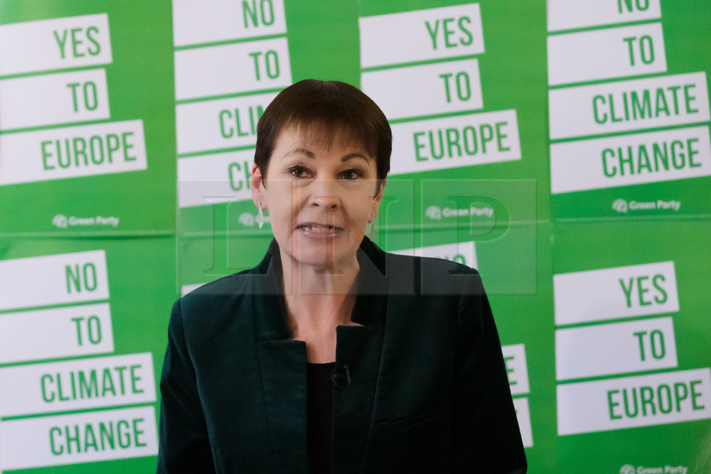 © Licensed to London News Pictures. 08/05/2019. London, UK.  Caroline Lucas MP speaking at the Green Party European election campaign launch, held at the Candid Arts Trust.  Photo credit: Vickie Flores/LNP