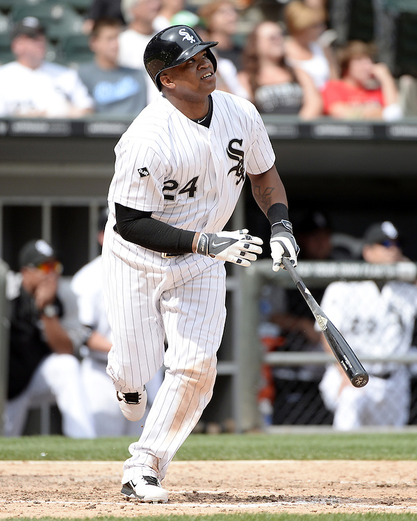 CHICAGO - AUGUST 06:  Dayan Viciedo of the Chicago White Sox bats against the Texas Rangers on August 6, 2014 at U.S. Cellular Field in Chicago, Illinois.  (Photo by Ron Vesely)