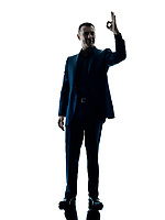 one caucasian business man standing okay sign  silhouette isolated on white background
