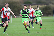 Forest Green Rovers Omar Bugiel(11) runs forward during the The Central League match between Cheltenham Town Reserves and Forest Green Rovers Reserves at The Energy Check Training Ground, Cheltenham, United Kingdom on 28 November 2017. Photo by Shane Healey.