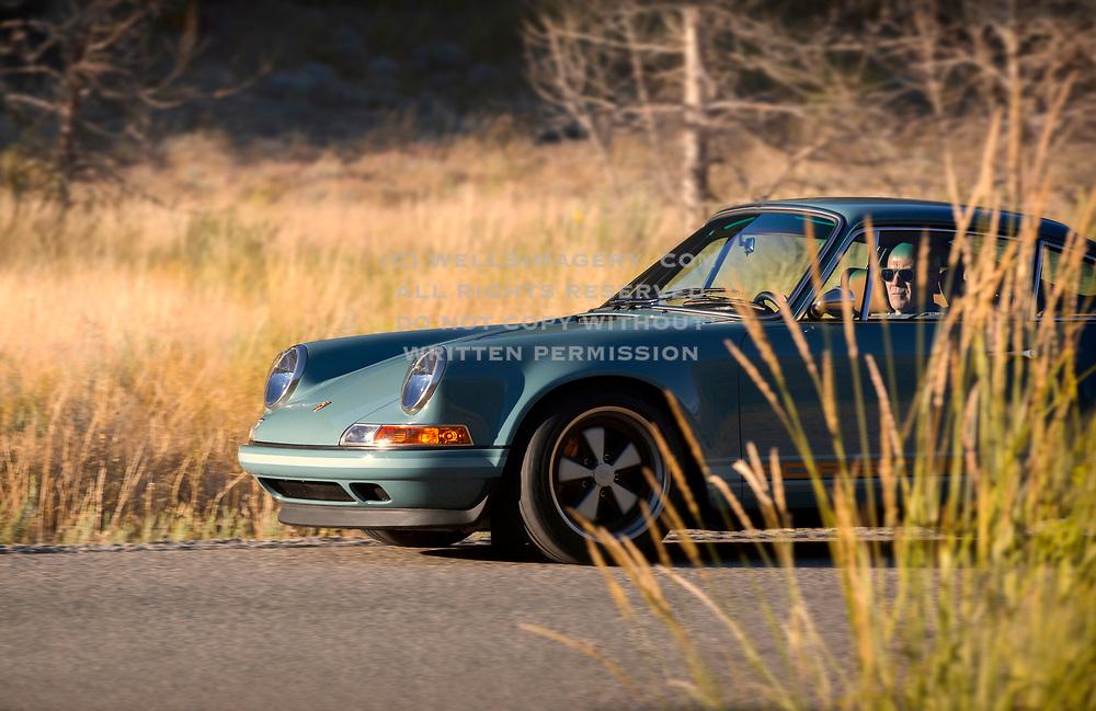 Image of a blue Singer Vehicle Design Porsche 911 in Sun Valley, Idaho, Pacific Northwest