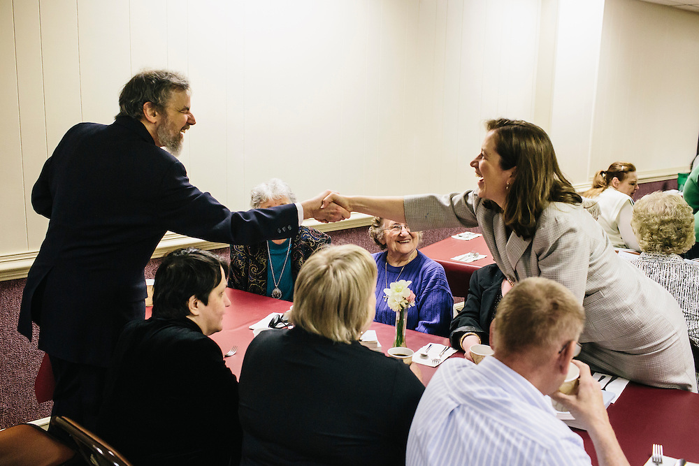 West Virginia Secretary of State Natalie Tennant greets Ed McDonald at Romney First United Methodist Church in Romney, W.V. during a Lenten Luncheon on Wednesday, April 16, 2014. Tennant is running for a US Senate seat in West Virginia against Republican Rep. Shelley Moore Capito.