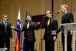 Singers Trio Quartet: Andrej Fojkar, Jernej Strah, Lenart Rupar and Tine Carman at 45th Awards of Stanko Bloudek for sports achievements in Slovenia in year 2009, on February 9, 2010, Brdo pri Kranju, Slovenia.  (Photo by Vid Ponikvar / Sportida)