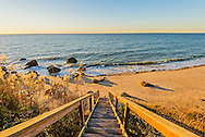 Stairs to beach, Long Island Sound, Greenport, Long Island, New York