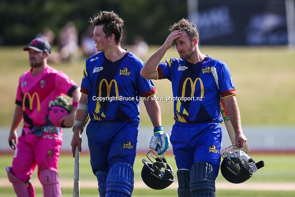 Otago Volts' Michael Bracewell (L) and Otago Volts' Neil Broom (R) after their unbeaten partnership to win the McDonalds Super Smash T20 cricket match - Knights v Volts played at Bay Oval, Mount Maunganui, New Zealand on Sunday 18 December.<br /> <br /> Copyright photo: Bruce Lim / www.photosport.nz
