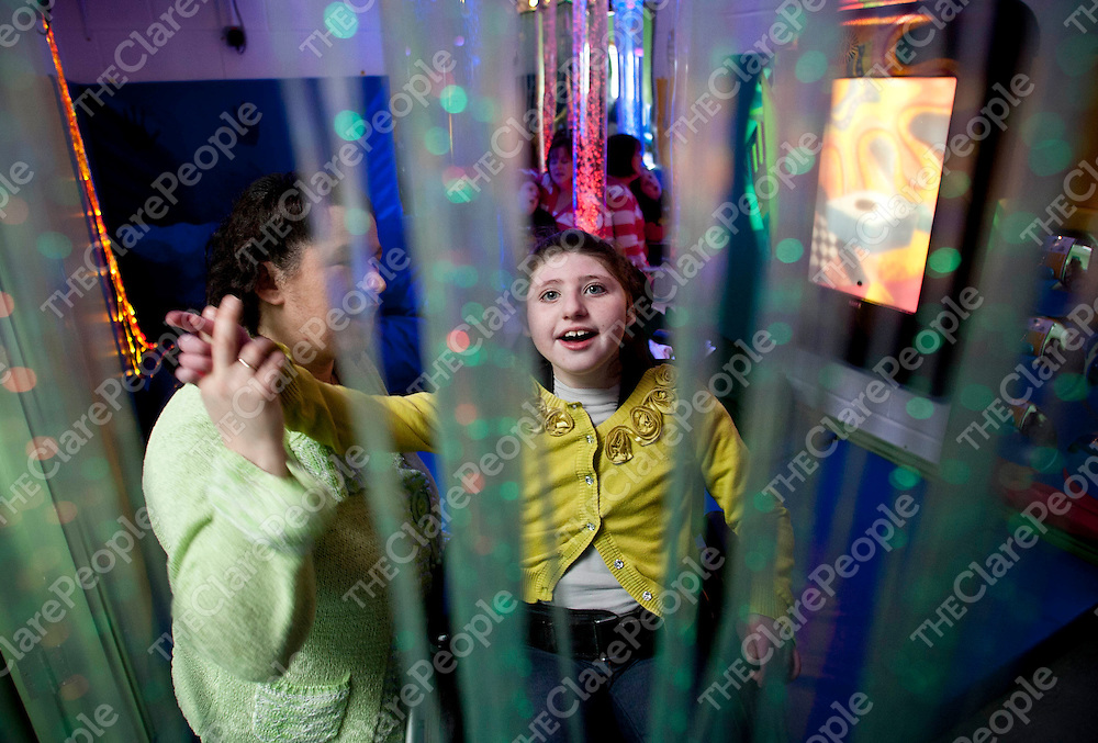 21.03.12 <br /> St. Clares School, Ennis has installed new sensory rooms to the school. Our picture shows Lauren and Brid Nolan Sheedy, St. Clares enjoying the the experience of the sensory room.<br /> Pic. Alan Place / Press 22