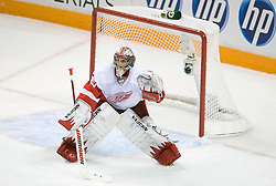 April 29, 2010; San Jose, CA, USA; Detroit Red Wings goaltender Jimmy Howard (35) prepares for a shot during the first period in game one of the western conference semifinals of the 2010 Stanley Cup Playoffs against the San Jose Sharks at HP Pavilion.  San Jose defeated Detroit 4-3. Mandatory Credit: Jason O. Watson / US PRESSWIRE
