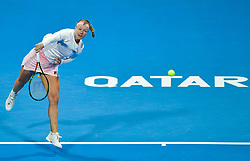 DOHA, Feb. 14, 2019  Kiki Bertens of the Netherlands serves during the women's singles second round match between Kiki Bertens of the Netherlands and Carla Suarez Navarro of Spain at the 2019 WTA Qatar Open in Doha, Qatar, Feb. 13, 2019. Kiki Bertens won 2-1. (Credit Image: © Nikku/Xinhua via ZUMA Wire)