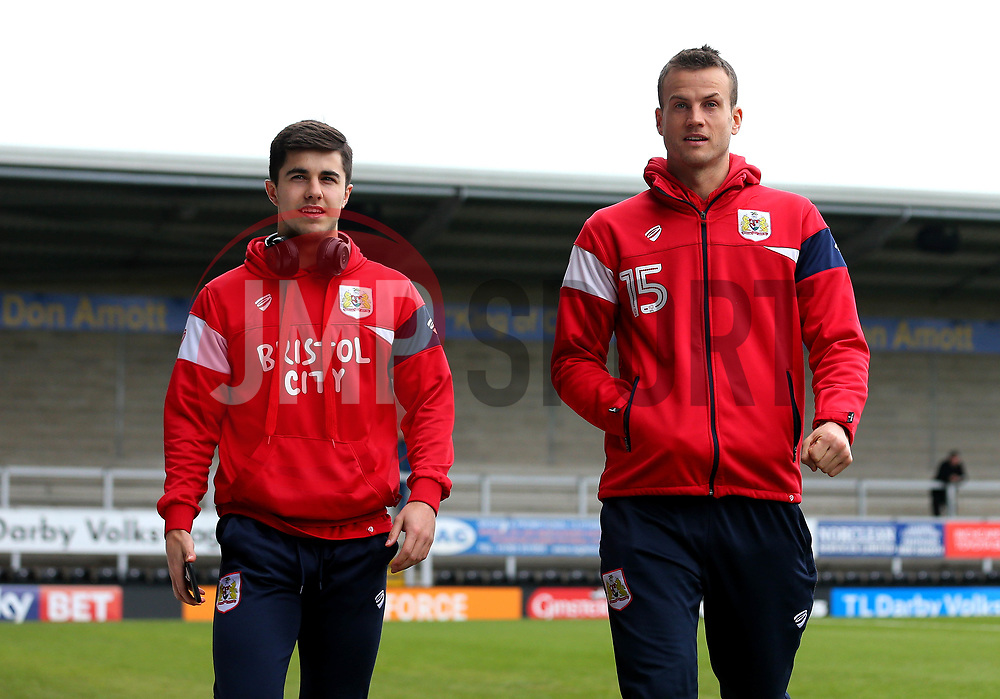 Luke Steele of Bristol City and Liam Walsh of Bristol City arrive at The Pirelli Stadium for the Sky Bet Championship match with Burton Albion - Mandatory by-line: Robbie Stephenson/JMP - 10/03/2018 - FOOTBALL - Pirelli Stadium - Burton upon Trent, England - Burton Albion v Bristol City - Sky Bet Championship
