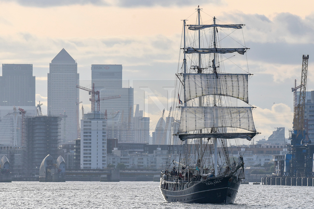 © Licensed to London News Pictures. 16/04/2017. London, UK. TS Thalassa passes by.  More than 30 ships from around the world take part in the Parade of Sail, the culmination of the Royal Greenwich Tall Ships Festival 2017.  Greenwich also marks the start of the Rendez-Vous 2017 Tall Ships Regatta, where these ships will journey to Quebec to mark the 150th anniversary of the Canadian Confederation. Photo credit : Stephen Chung/LNP