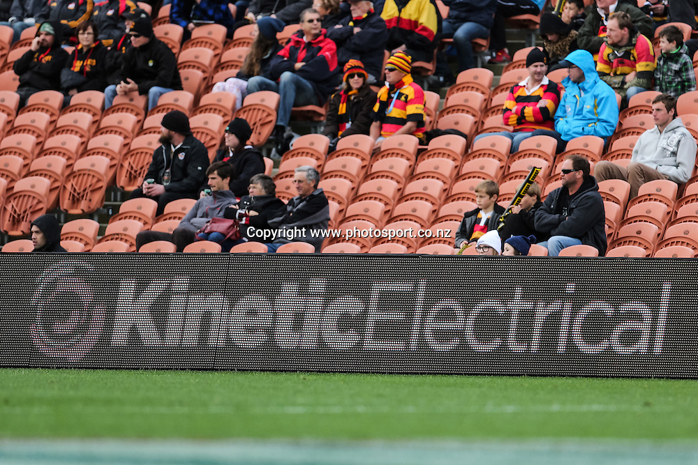 Kinetic Electrical signage during the ITM Cup rugby match - Waikato v Counties Manukau at Waikato Stadium, Hamilton on Sunday 14 September 2014.  Photo: Bruce Lim / www.photosport.co.nz
