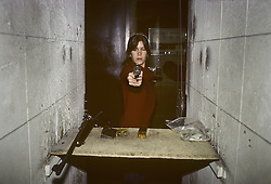 CARRIE FRANCES FISHER (October 21, 1956 - December 27, 2016) the actress best known as Star Wars' Princess Leia Organa, has died after suffering a heart attack. She was 60. Pictured: October 15, 1979 - New York, New York, U.S. - Carrie Fisher Practicing shooting for her role as Princess Leia in Star Wars (Credit Image: © Lynn Goldsmith via ZUMA Press)
