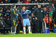 Sergio Aguero (10) of Manchester City preparing to come on for Gabriel Jesus (33) of Manchester City who is injured during the Premier League match between Bournemouth and Manchester City at the Vitality Stadium, Bournemouth, England on 13 February 2017. Photo by Graham Hunt.