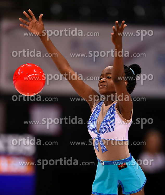 07.09.2015, Porsche Arena, Stuttgart, GER, Gymnastik WM, im Bild Sofia Higino (ANG) Ball // during the World Rhythmic Gymnastics Championships at the Porsche Arena in Stuttgart, Germany on 2015/09/07. EXPA Pictures &copy; 2015, PhotoCredit: EXPA/ Eibner-Pressefoto/ Weber<br /> <br /> *****ATTENTION - OUT of GER*****