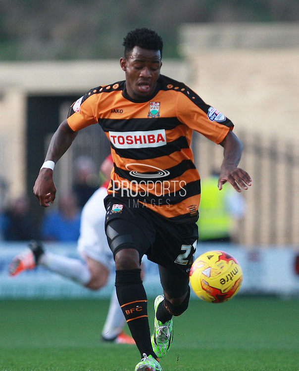 Barnet striker Josh Clarke races forward during the Sky Bet League 2 match between Barnet and Exeter City at The Hive Stadium, London, England on 31 October 2015. Photo by Bennett Dean.