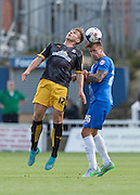 Andrew Boyce (Hartlepool United) wins the high ball challenged by Jacob Blyth (Cambridge United) during the Sky Bet League 2 match between Hartlepool United and Cambridge United at Victoria Park, Hartlepool, England on 19 September 2015. Photo by George Ledger.
