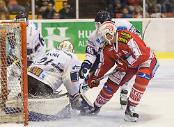 11.09.2015, Stadthalle, Klagenfurt, AUT, EBEL, EC KAC vs Fehervar AV 19, im Bild Bence Sziranyi (Fehervar AV 19, #6), Miklos Rajna (Fehervar AV 19, #31), Peter Vincze (Fehervar AV 19, #95), Jamie Lundmark (EC KAC, #74)// during the Erste Bank Eishockey League match betweeen EC KAC and Fehervar AV 19 at the City Hall in Klagenfurt, Austria on 2015/09/10. EXPA Pictures © 2015, PhotoCredit: EXPA/ Gert Steinthaler