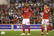 John Bostock (13) & Joe Lolley (23) during the EFL Cup match between Nottingham Forest and Derby County at the City Ground, Nottingham, England on 27 August 2019.