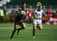 DUBAI, UNITED ARAB EMIRATES - Thursdays 30 November 2017, Tyla Nathan-Wong of New Zealand on her way to score a try during HSBC Emirates Airline Dubai Rugby Sevens match between South Africa and New Zealand at The Sevens Stadium in Dubai.<br /> Photo by Roger Sedres/ImageSA