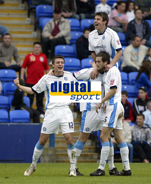 Photo: Marc Atkins.<br /> <br /> Peterborough United v Wycombe Wanderers. Coca Cola League 2. 06/05/2006. Wycomber players celebrate Mike Williamson's late 2nd goal.