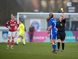 Paige Williams of Birmingham City Ladies sees yellow for her challenge on Yana Daniels of Bristol City Women - Mandatory by-line: Paul Knight/JMP - 28/03/2018 - FOOTBALL - Stoke Gifford Stadium - Bristol, England - Bristol City Women v Birmingham City Ladies - FA Women's Super League