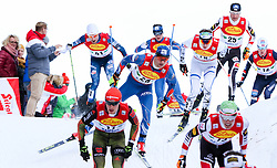 17.12.2016, Nordische Arena, Ramsau, AUT, FIS Weltcup Nordische Kombination, Langlauf, im Bild eine Gruppe von Athleten mit Miroslav Dvorak (CZE), Startnummer 28 // Miroslav Dvorak of Czech Republic, BIB 28, and a group of athletes during Cross Country Competition of FIS Nordic Combined World Cup, at the Nordic Arena in Ramsau, Austria on 2016/12/17. EXPA Pictures © 2016, PhotoCredit: EXPA/ Martin Huber