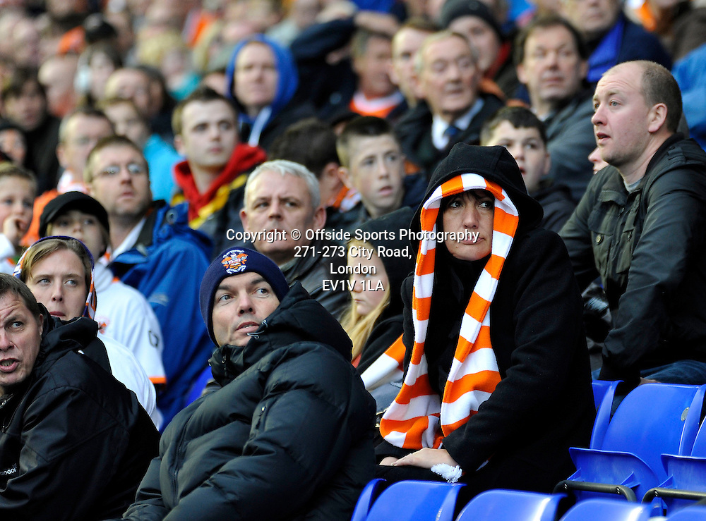 23th October 2010 - Premier League Football - Birmingham City Vs Blackpool - Deflated Blackpool supporters watch the replay of Nikola Zigic's goal for Birmingham.  Photographer: Paul Roberts / Offside.