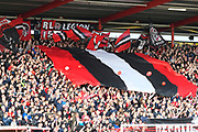 Giant flags on display before the EFL Sky Bet League 2 play off second leg match between Exeter City and Carlisle United at St James' Park, Exeter, England on 18 May 2017. Photo by Graham Hunt.