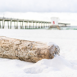 Pensacola Beach Florida driftwood, Gulf Pier and lifeguard tower five photo. Pensacola Beach is a coastal city in the Emerald Coast area of the Southeastern United States. Photo is beige, brown and green and high resolution. Copyright ⓒ 2018 Paul Velgos with All Rights Reserved.