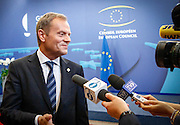 Brussels  27 June 2014 <br /> <br /> Summit of the Heads of state and Government of the European Union - Doorstep interview of Polish Prime Minister<br />  <br /> Pix : Donald Tusk<br /> <br /> Crédit Sébastien Pirlet / Isopix
