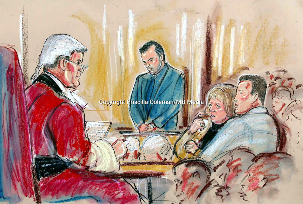©PRISCILLA COLEMAN ITV NEWS 19.12.02..SUPPLIED BY: PHOTONEWS SERVICE LTD OLD BAILEY..PIC SHOWS: STUART CAMPBELL, UNCLE OF DANIELLE JONES, STANDING IN THE DOCK AS THE VERDICT IN HIS CASE IS READ. LINDA AND TONY JONES, MOTHER AND FATHER OF DANIELLE JONES ARE SITTING (RIGHT). STUART CAMPBELL WAS FOUND GUILTY OF THE MURDER OF DANIELLE JONES TODAY AT CHELMSFORD CROWN COURT-SEE STORY..ILLUSTRATION: PRISCILLA COLEMAN ITV NEWS..