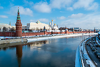 View of the Kremlin from the banks of the Moskva River in Moscow, Russia.