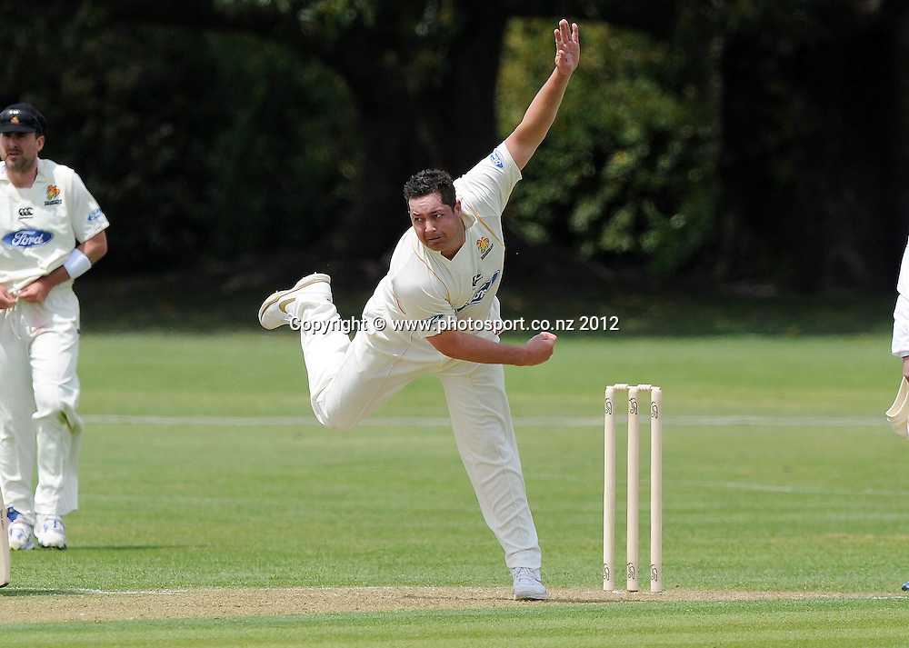 Wellington Firebird's Jesse Ryder bowls in the Plunket Shield Cricket match, Central Stags vs Wellington Firebirds, Nelson Park, Napier, New Zealand. Sunday 28 October 2012. Photo: Kerry Marshall / photosport.co.nz