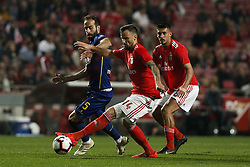 February 25, 2019 - Lisbon, Portugal - Haris Seferovic of Benfica (C)  vies for the ball with Filipe Melo of Chaves  (L) during the Portuguese League football match between SL Benfica and GD Chaves at Luz Stadium in Lisbon on February 25, 2019. (Credit Image: © Carlos Palma/NurPhoto via ZUMA Press)
