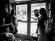Mara Blom Schantz shoots a portrait at the Drag Queen brunch at Nellie's Sports Bar in Washington, DC