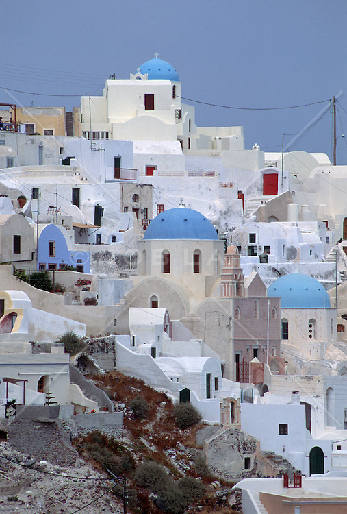 Santorini, Greece churches and homes on a hillside