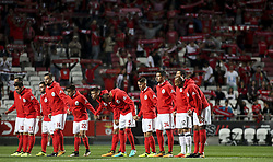 September 23, 2017 - Lisbon, Portugal - Benfica initial team posing for the supporters during the Portuguese League  football match between SL Benfica and FC Pacos de Ferreira at Luz  Stadium in Lisbon on September 23, 2017. (Credit Image: © Carlos Costa/NurPhoto via ZUMA Press)