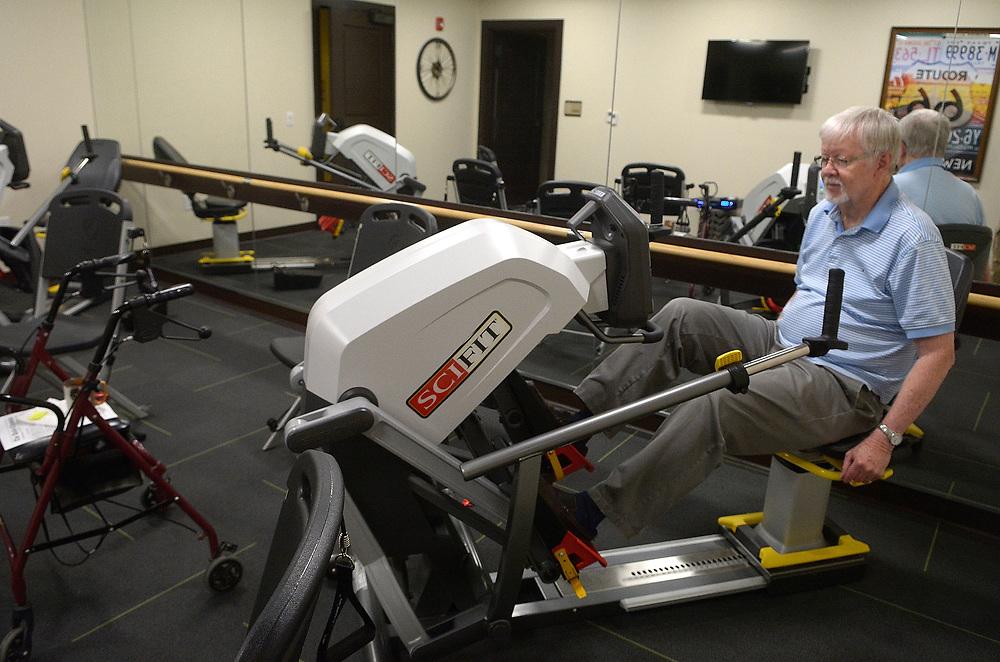 gbs062617o/BUSINESS --  Roger Proctor exercises in the gym at Elan Santa Monica on Monday, June 26, 2017. (Greg Sorber/Albuquerque Journal)