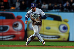 SAN FRANCISCO, CA - SEPTEMBER 24: Wil Myers #4 of the San Diego Padres fields a ground ball against the San Francisco Giants during the seventh inning at AT&T Park on September 24, 2018 in San Francisco, California. The San Diego Padres defeated the San Francisco Giants 5-0. (Photo by Jason O. Watson/Getty Images) *** Local Caption *** Wil Myers
