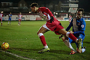Matt Crooks (Accrington Stanley) brought down just outside the Hartlepool penalty box and a free kick is awarded during the Sky Bet League 2 match between Accrington Stanley and Hartlepool United at the Fraser Eagle Stadium, Accrington, England on 19 January 2016. Photo by Mark P Doherty.