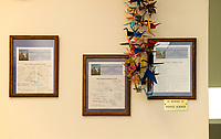 Prayers of Support, Encouragement and Hope written by the Congregational Church of Laconia along with hand made origami birds were received and placed on the walls at Temple B'nai Israel. (Karen Bobotas/for the Laconia Daily Sun)