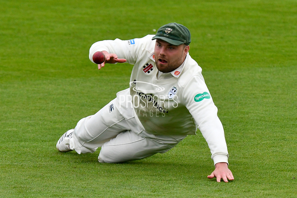 Joe Leach of Worcestershire drops a catch from Gareth Berg of Hampshire during the Specsavers County Champ Div 1 match between Hampshire County Cricket Club and Worcestershire County Cricket Club at the Ageas Bowl, Southampton, United Kingdom on 13 April 2018. Picture by Graham Hunt.