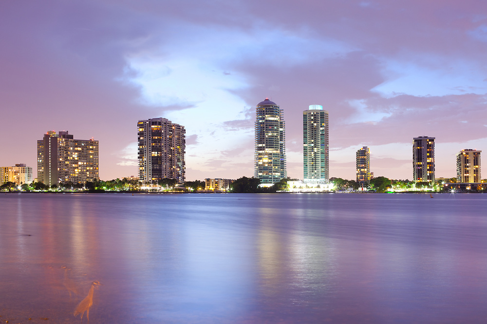 Skyline of buildings at Brickell District, Miami, Florida, USA