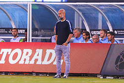 July 25, 2018 - East Rutherford, NJ, U.S. - EAST RUTHERFORD, NJ - JULY 25:  Manchester City head coach Pep Guardiola during the first half of the International Champions Cup Soccer game between Liverpool and Manchester City on July 25, 2018 at Met Life Stadium in East Rutherford, NJ.  (Photo by Rich Graessle/Icon Sportswire) (Credit Image: © Rich Graessle/Icon SMI via ZUMA Press)