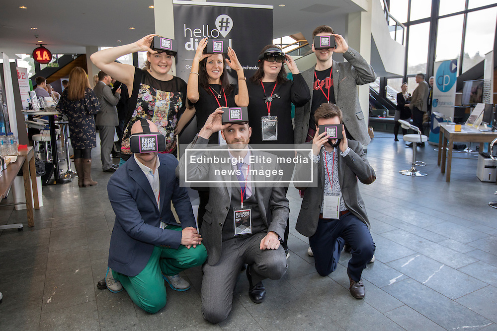 Speakers and exhibitors holing virtual reality glasses at #hellodigital Extra 2017 event, held at Eden Court in Inverness.<br /> <br /> Pictured:<br /> Back Row L-R: Cat Kemp (Krisp Photography - speaker), Pauline McLaughlin (Equator - exhibitor), Jillian Ney (DRJN - speaker), Mike McGrail (Velocity Digital - speaker).<br /> Front Row L-R: David Pugh-Jones (The Smalls - speaker), Fergus Weir (Teclan - speaker), Craig Steele (Codedojo - speaker   <br /> <br /> Malcolm McCurrach | EEm | Mon, 20, February, 2017