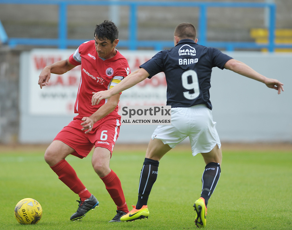 Ross McMillan (Stirling Albion, red &amp; white) and John Baird (Falkirk, blue)<br /> <br /> Stirling Albion v Falkirk, Betfred Cup, Saturday 16th July 2016 <br /> <br /> (c) Alex Todd | SportPix.org.uk